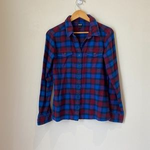 Patagonia Red and Blue Fjord Flannel Shirt Size 8